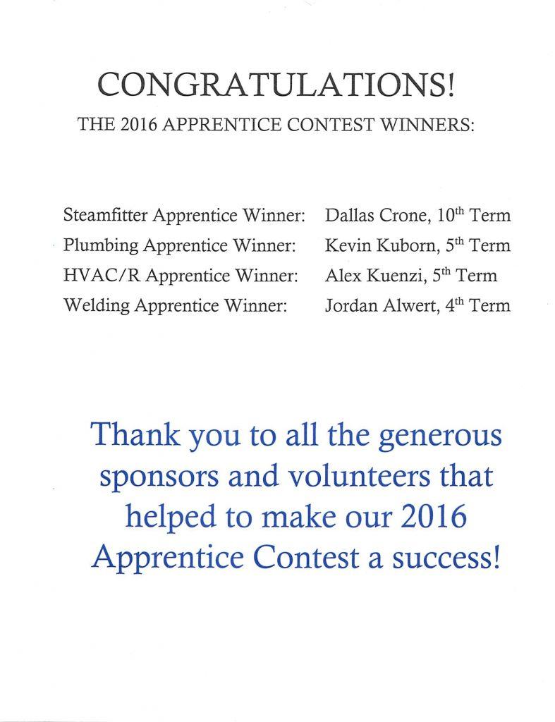 Apprentice Contest Winners